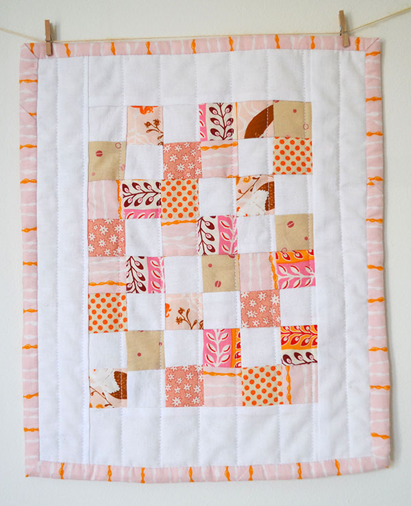 mini four patch doll quilt