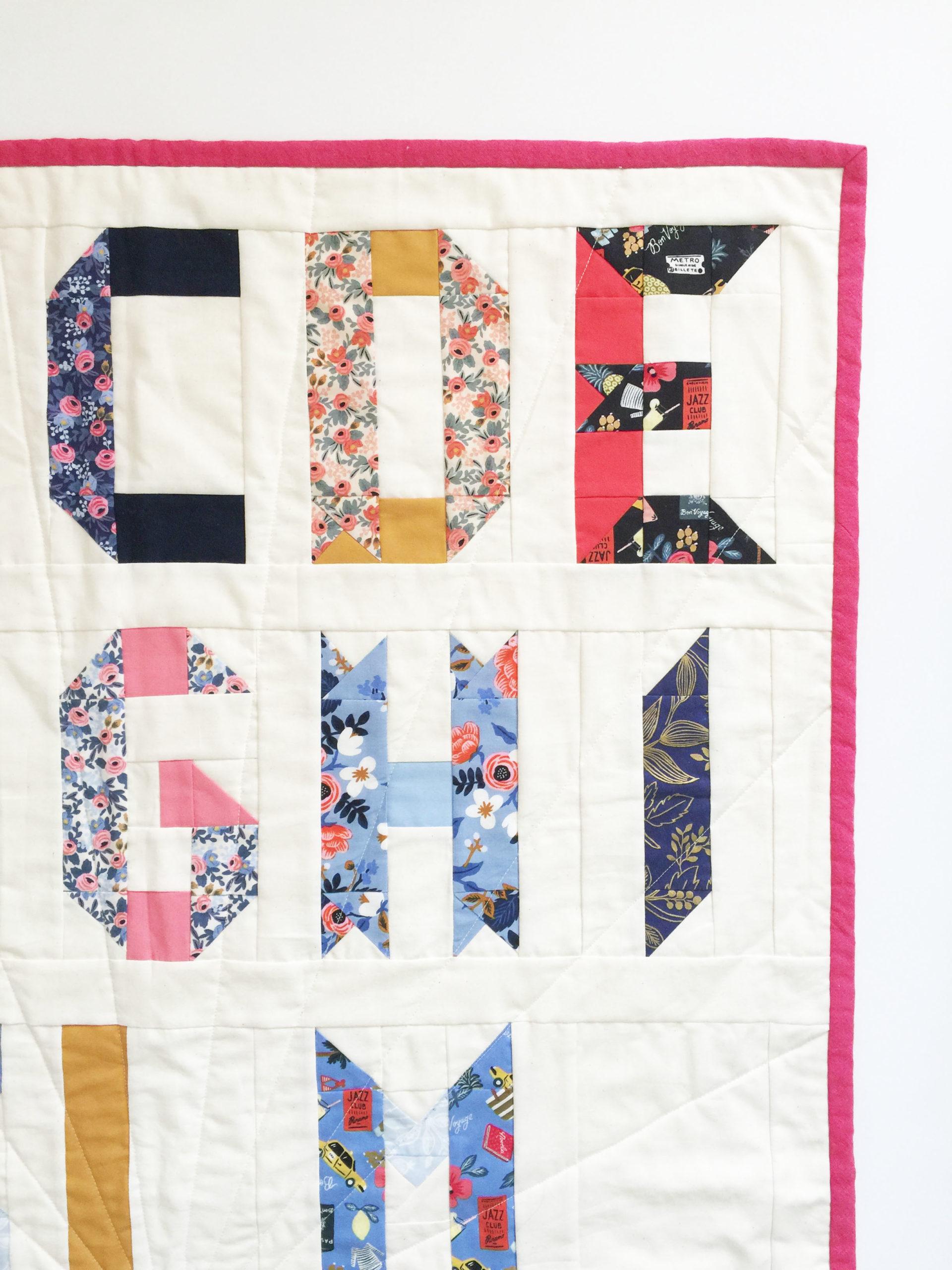 Alphabet quilt in Rifle Paper fabric