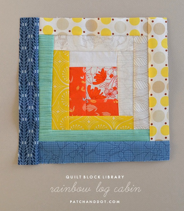 Rainbow Log Cabing Quilt Block Tutorial by Patch and Dot