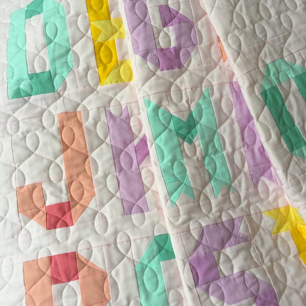 Ribbon letters alphabet quilt detail