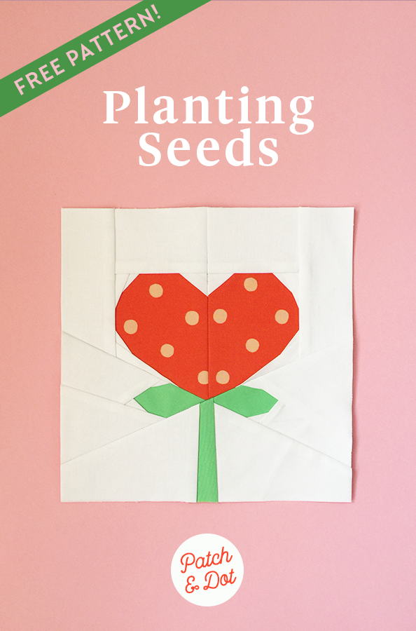 Planting seeds heart paper piecing pattern