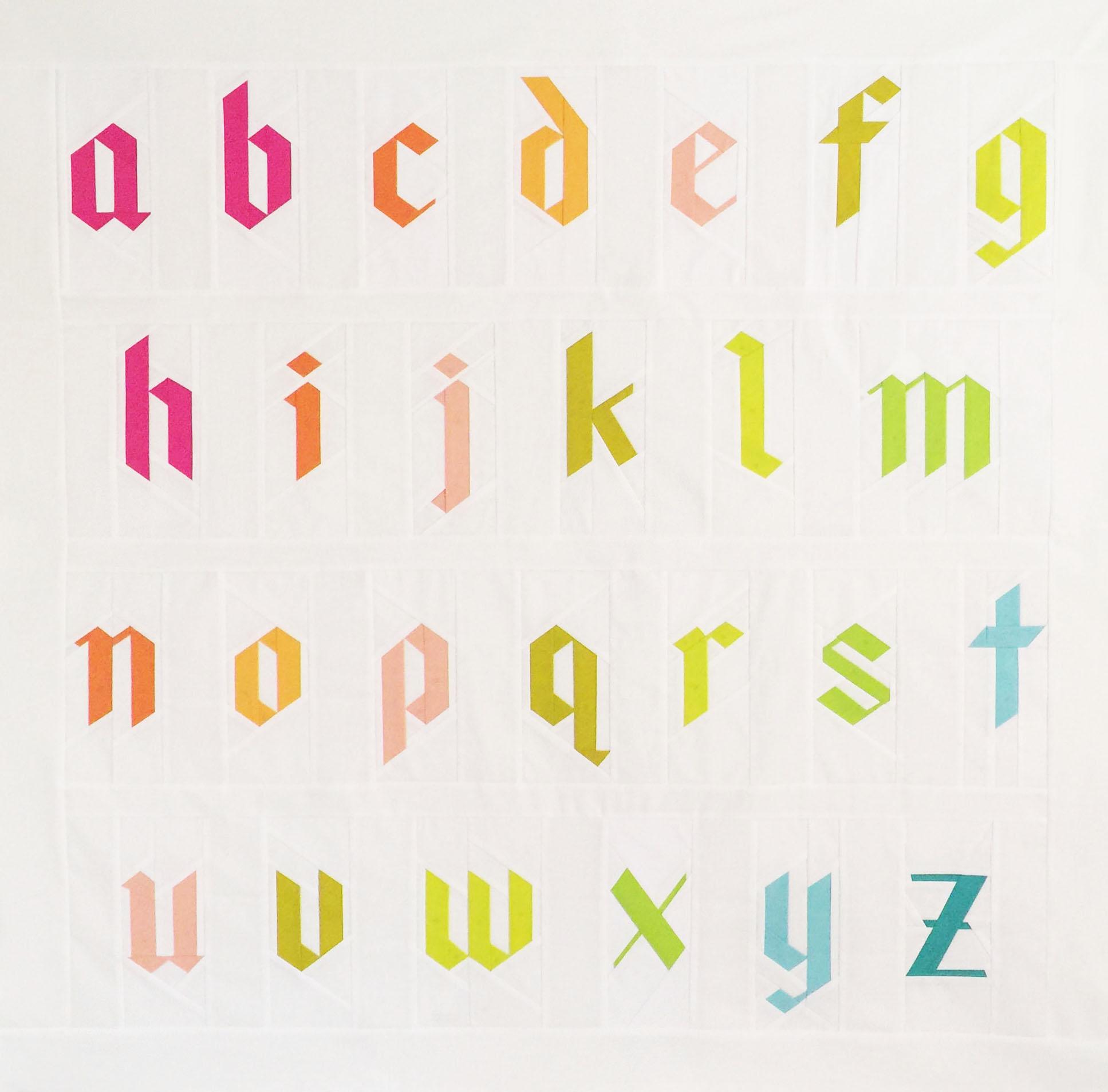 Blackletter Paper Pieced Alphabet Quilt Patch Dot