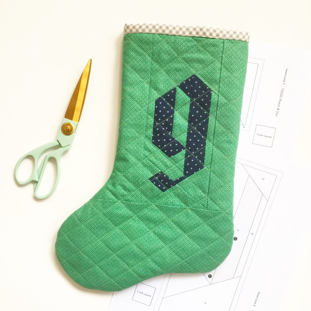 Quilted stocking with initial