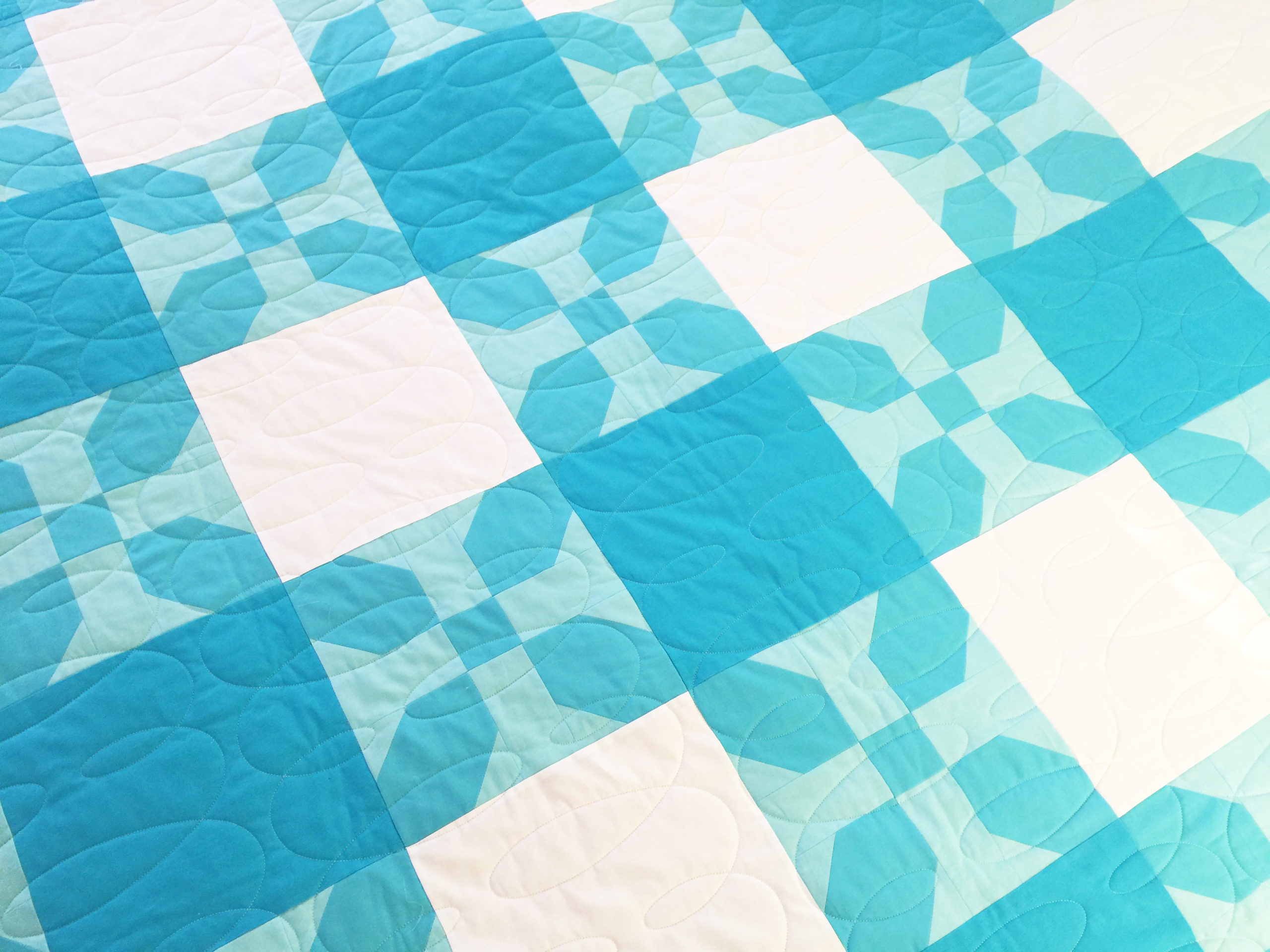 Gingham Quilt in Kona Cotton Solid Blues