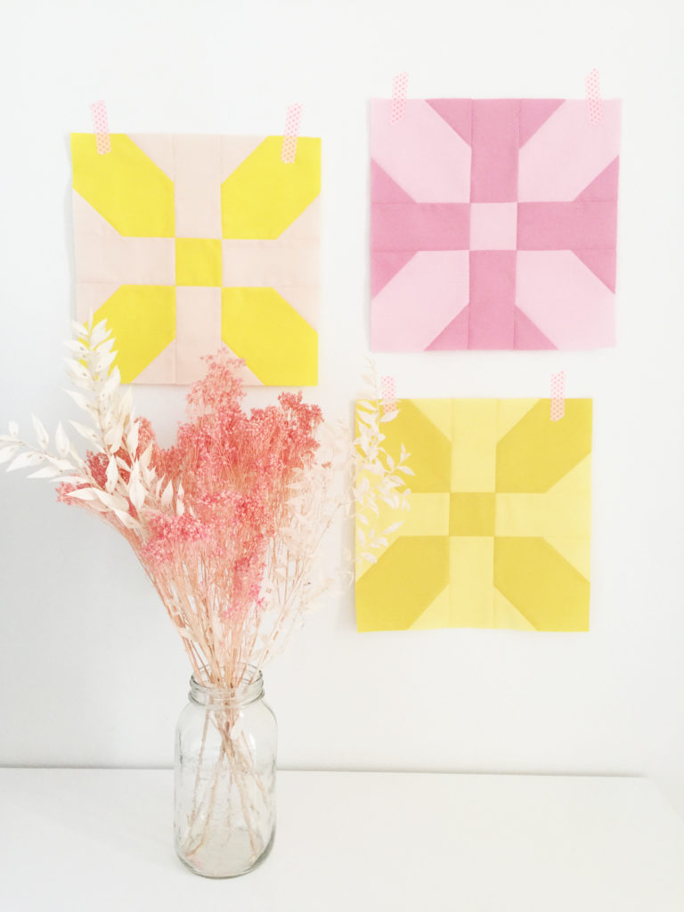 Simple Quilt Blocks in Pink and Yellow